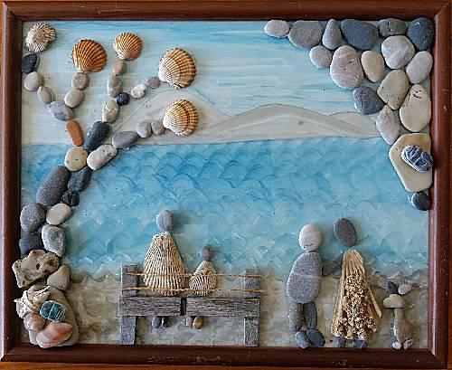 Steentjes schilderij op glas