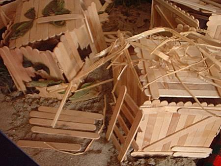 Dorp van houten hutjes