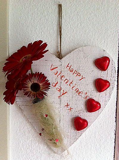 Valentijnhart met echte bloemen
