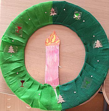 Kerstkrans van bordje