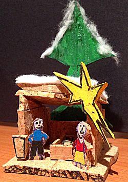 Kerststal van kurken