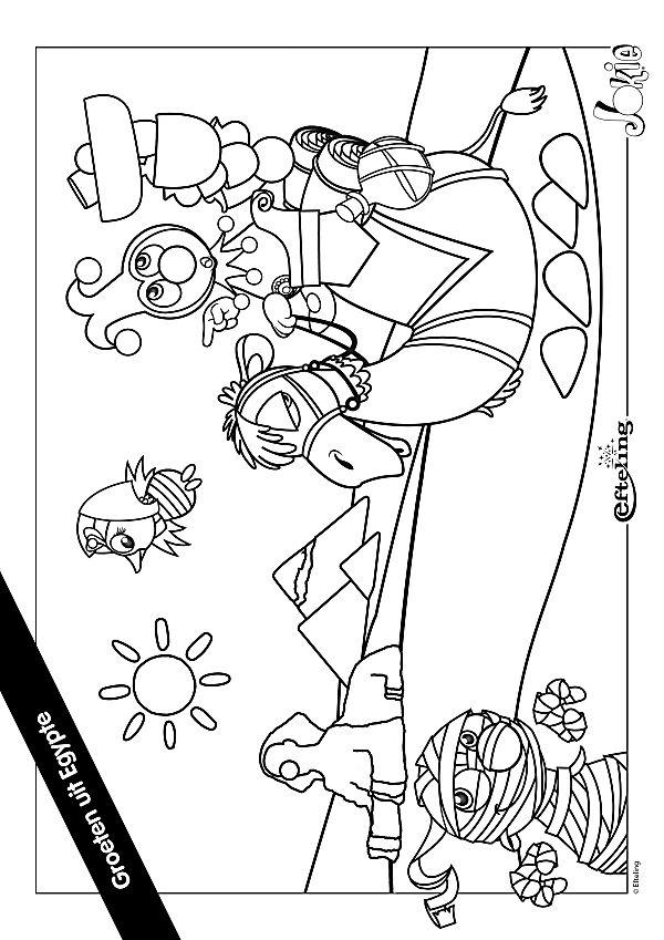 Kleurplaat Jokie En Jet Verjaardag Knutselcategorie Kleuren Egypte Avontuur Met Jokie