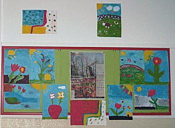 Voorjaars verftekening met vijf kleuren