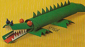 Krokodil van wc-rollen