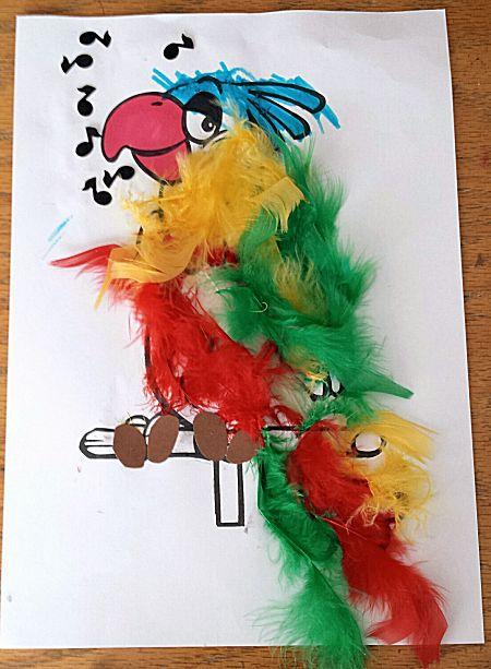 Papegaai met echte veren