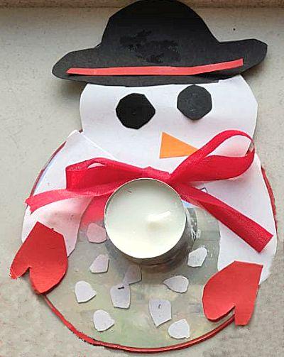 Sneeuwpop waxine lichtje