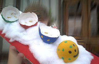 Rups van eierschalen