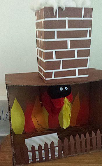Open haard en Piet komt door de schoorsteen