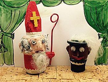 Sinterklaas en Zwarte Piet van kurk