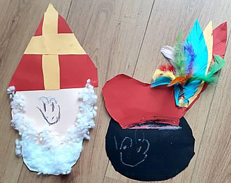 Sinterklaas hoofd maken van papier (en zwarte piet)