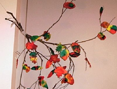 Herfsttak met bladeren